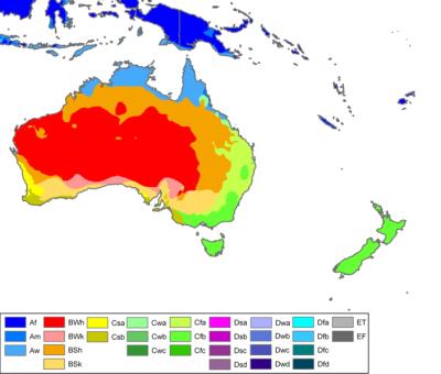 Karta som visar klimatzoner i Oceanien.