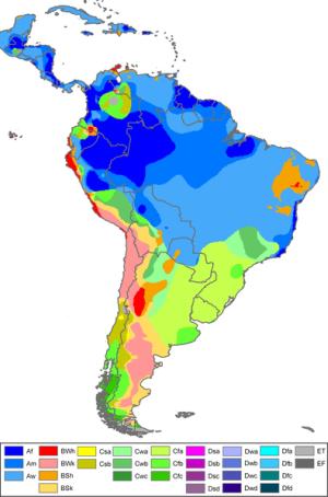 Karta som visar klimatzoner i Sydamerika.