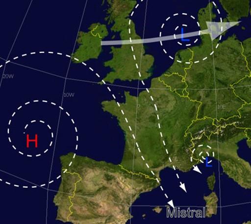 Mistral-vind blåser från Biscayabukten över Frankrike.