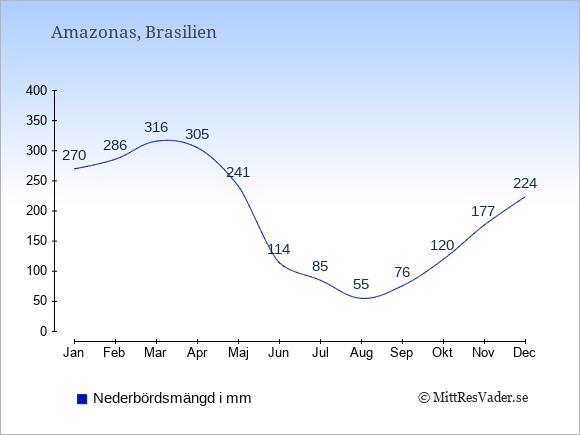 Nederbörd i Amazonas i mm: Januari 270. Februari 286. Mars 316. April 305. Maj 241. Juni 114. Juli 85. Augusti 55. September 76. Oktober 120. November 177. December 224.