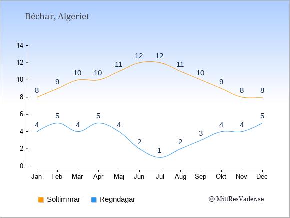 Vädret i Béchar exemplifierat genom antalet soltimmar och regniga dagar: Januari 8;4. Februari 9;5. Mars 10;4. April 10;5. Maj 11;4. Juni 12;2. Juli 12;1. Augusti 11;2. September 10;3. Oktober 9;4. November 8;4. December 8;5.