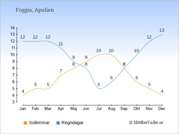 Vädret i Foggia exemplifierat genom antalet soltimmar och regniga dagar: Januari 4;12. Februari 5;12. Mars 5;12. April 7;11. Maj 8;9. Juni 9;8. Juli 10;5. Augusti 10;6. September 8;8. Oktober 6;10. November 5;12. December 4;13.