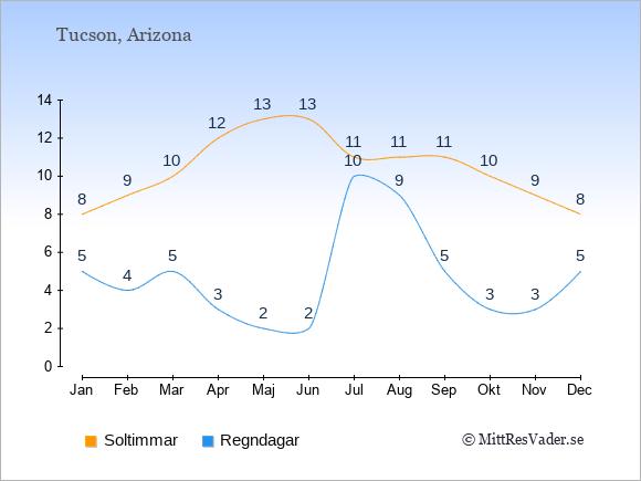 Vädret i Tucson exemplifierat genom antalet soltimmar och regniga dagar: Januari 8;5. Februari 9;4. Mars 10;5. April 12;3. Maj 13;2. Juni 13;2. Juli 11;10. Augusti 11;9. September 11;5. Oktober 10;3. November 9;3. December 8;5.