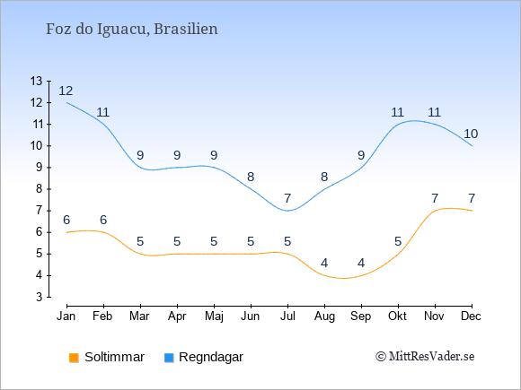 Vädret i Foz do Iguacu exemplifierat genom antalet soltimmar och regniga dagar: Januari 6;12. Februari 6;11. Mars 5;9. April 5;9. Maj 5;9. Juni 5;8. Juli 5;7. Augusti 4;8. September 4;9. Oktober 5;11. November 7;11. December 7;10.