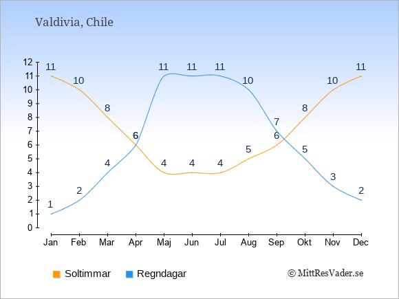 Vädret i Valdivia: Soltimmar och nederbörd.