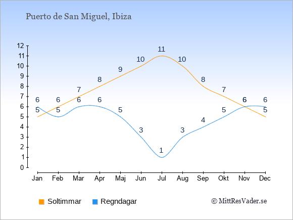 Vädret i Puerto de San Miguel: Soltimmar och nederbörd.