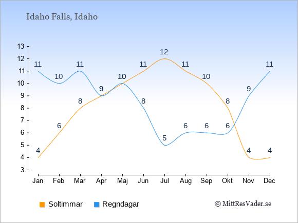 Vädret i Idaho Falls exemplifierat genom antalet soltimmar och regniga dagar: Januari 4;11. Februari 6;10. Mars 8;11. April 9;9. Maj 10;10. Juni 11;8. Juli 12;5. Augusti 11;6. September 10;6. Oktober 8;6. November 4;9. December 4;11.
