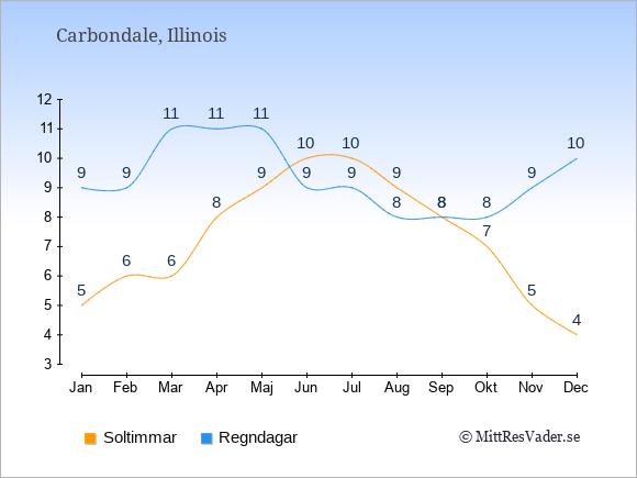 Vädret i Carbondale exemplifierat genom antalet soltimmar och regniga dagar: Januari 5;9. Februari 6;9. Mars 6;11. April 8;11. Maj 9;11. Juni 10;9. Juli 10;9. Augusti 9;8. September 8;8. Oktober 7;8. November 5;9. December 4;10.