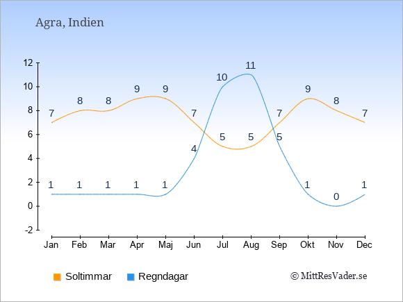 Vädret i Agra exemplifierat genom antalet soltimmar och regniga dagar: Januari 7;1. Februari 8;1. Mars 8;1. April 9;1. Maj 9;1. Juni 7;4. Juli 5;10. Augusti 5;11. September 7;5. Oktober 9;1. November 8;0. December 7;1.