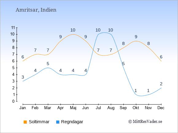 Vädret i Amritsar exemplifierat genom antalet soltimmar och regniga dagar: Januari 6;3. Februari 7;4. Mars 7;5. April 9;4. Maj 10;4. Juni 9;4. Juli 7;10. Augusti 7;10. September 8;5. Oktober 9;1. November 8;1. December 6;2.