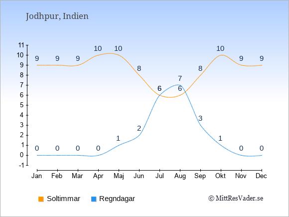 Vädret i Jodhpur exemplifierat genom antalet soltimmar och regniga dagar: Januari 9;0. Februari 9;0. Mars 9;0. April 10;0. Maj 10;1. Juni 8;2. Juli 6;6. Augusti 6;7. September 8;3. Oktober 10;1. November 9;0. December 9;0.