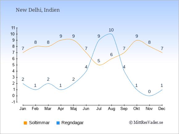Vädret i New Delhi: Soltimmar och nederbörd.