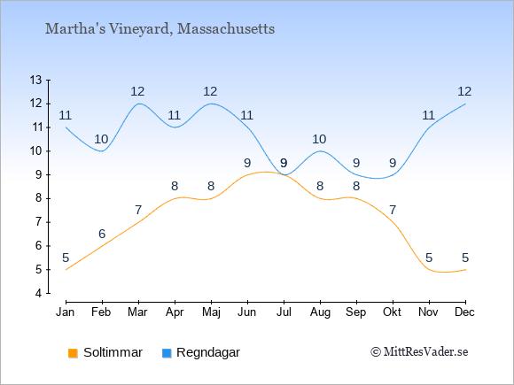Vädret i Martha's Vineyard exemplifierat genom antalet soltimmar och regniga dagar: Januari 5;11. Februari 6;10. Mars 7;12. April 8;11. Maj 8;12. Juni 9;11. Juli 9;9. Augusti 8;10. September 8;9. Oktober 7;9. November 5;11. December 5;12.