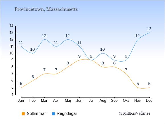 Vädret i Provincetown exemplifierat genom antalet soltimmar och regniga dagar: Januari 5;11. Februari 6;10. Mars 7;12. April 7;11. Maj 8;12. Juni 9;11. Juli 9;9. Augusti 8;10. September 8;9. Oktober 7;9. November 5;12. December 5;13.