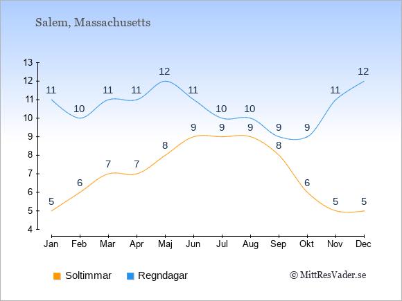 Vädret i Salem exemplifierat genom antalet soltimmar och regniga dagar: Januari 5;11. Februari 6;10. Mars 7;11. April 7;11. Maj 8;12. Juni 9;11. Juli 9;10. Augusti 9;10. September 8;9. Oktober 6;9. November 5;11. December 5;12.