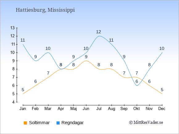 Vädret i Hattiesburg exemplifierat genom antalet soltimmar och regniga dagar: Januari 5;11. Februari 6;9. Mars 7;10. April 8;8. Maj 8;9. Juni 9;10. Juli 8;12. Augusti 8;11. September 7;9. Oktober 7;6. November 6;8. December 5;10.