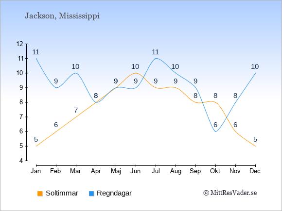 Vädret i Jackson exemplifierat genom antalet soltimmar och regniga dagar: Januari 5;11. Februari 6;9. Mars 7;10. April 8;8. Maj 9;9. Juni 10;9. Juli 9;11. Augusti 9;10. September 8;9. Oktober 8;6. November 6;8. December 5;10.