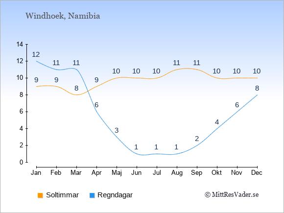 Vädret i Namibia exemplifierat genom antalet soltimmar och regniga dagar: Januari 9;12. Februari 9;11. Mars 8;11. April 9;6. Maj 10;3. Juni 10;1. Juli 10;1. Augusti 11;1. September 11;2. Oktober 10;4. November 10;6. December 10;8.