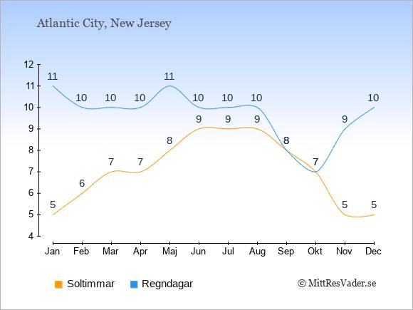 Vädret i Atlantic City exemplifierat genom antalet soltimmar och regniga dagar: Januari 5;11. Februari 6;10. Mars 7;10. April 7;10. Maj 8;11. Juni 9;10. Juli 9;10. Augusti 9;10. September 8;8. Oktober 7;7. November 5;9. December 5;10.