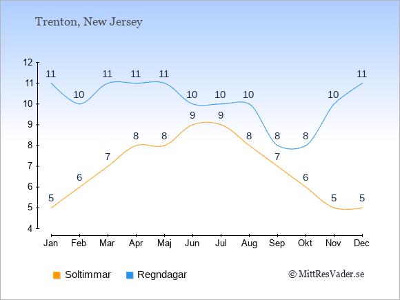 Vädret i Trenton exemplifierat genom antalet soltimmar och regniga dagar: Januari 5;11. Februari 6;10. Mars 7;11. April 8;11. Maj 8;11. Juni 9;10. Juli 9;10. Augusti 8;10. September 7;8. Oktober 6;8. November 5;10. December 5;11.