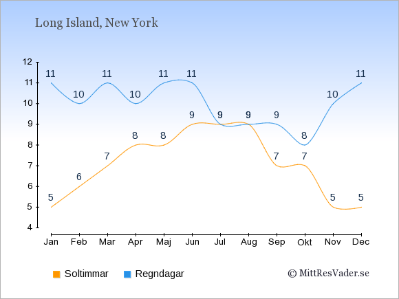 Vädret på Long Island exemplifierat genom antalet soltimmar och regniga dagar: Januari 5;11. Februari 6;10. Mars 7;11. April 8;10. Maj 8;11. Juni 9;11. Juli 9;9. Augusti 9;9. September 7;9. Oktober 7;8. November 5;10. December 5;11.