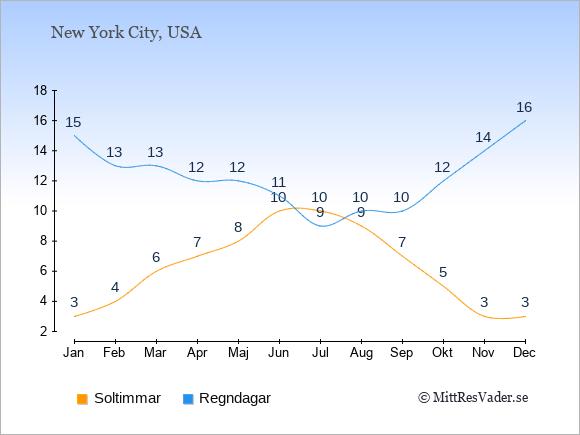 Vädret i Rochester exemplifierat genom antalet soltimmar och regniga dagar: Januari 3;15. Februari 4;13. Mars 6;13. April 7;12. Maj 8;12. Juni 10;11. Juli 10;9. Augusti 9;10. September 7;10. Oktober 5;12. November 3;14. December 3;16.