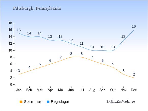 Vädret i Pittsburgh exemplifierat genom antalet soltimmar och regniga dagar: Januari 3;15. Februari 4;14. Mars 5;14. April 6;13. Maj 7;13. Juni 8;12. Juli 8;11. Augusti 7;10. September 6;10. Oktober 5;10. November 3;13. December 2;16.