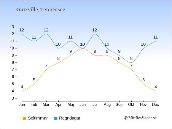 Vädret i Knoxville: Soltimmar och nederbörd.