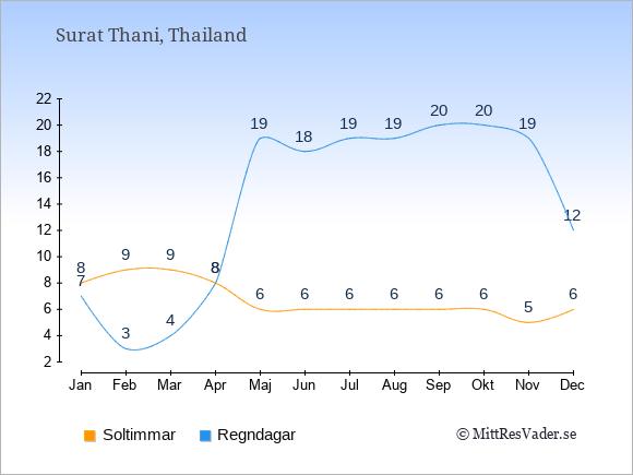 Vädret i Surat Thani exemplifierat genom antalet soltimmar och regniga dagar: Januari 8;7. Februari 9;3. Mars 9;4. April 8;8. Maj 6;19. Juni 6;18. Juli 6;19. Augusti 6;19. September 6;20. Oktober 6;20. November 5;19. December 6;12.