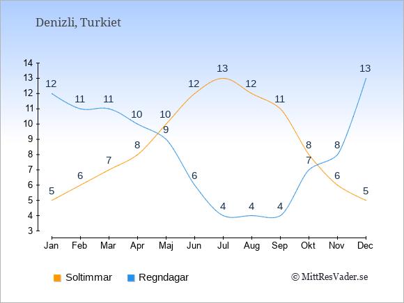Vädret i Denizli exemplifierat genom antalet soltimmar och regniga dagar: Januari 5;12. Februari 6;11. Mars 7;11. April 8;10. Maj 10;9. Juni 12;6. Juli 13;4. Augusti 12;4. September 11;4. Oktober 8;7. November 6;8. December 5;13.