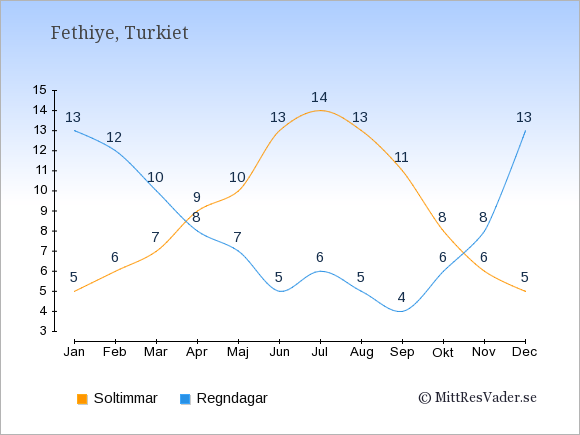 Vädret i Fethiye exemplifierat genom antalet soltimmar och regniga dagar: Januari 5;13. Februari 6;12. Mars 7;10. April 9;8. Maj 10;7. Juni 13;5. Juli 14;6. Augusti 13;5. September 11;4. Oktober 8;6. November 6;8. December 5;13.