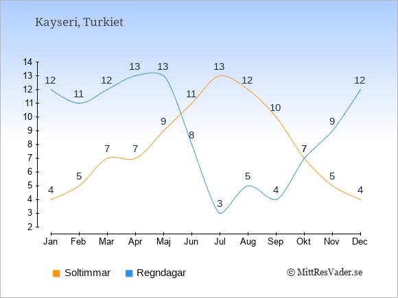 Vädret i Kayseri exemplifierat genom antalet soltimmar och regniga dagar: Januari 4;12. Februari 5;11. Mars 7;12. April 7;13. Maj 9;13. Juni 11;8. Juli 13;3. Augusti 12;5. September 10;4. Oktober 7;7. November 5;9. December 4;12.