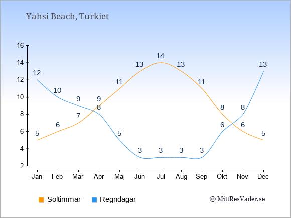 Vädret i Yahsi Beach exemplifierat genom antalet soltimmar och regniga dagar: Januari 5;12. Februari 6;10. Mars 7;9. April 9;8. Maj 11;5. Juni 13;3. Juli 14;3. Augusti 13;3. September 11;3. Oktober 8;6. November 6;8. December 5;13.