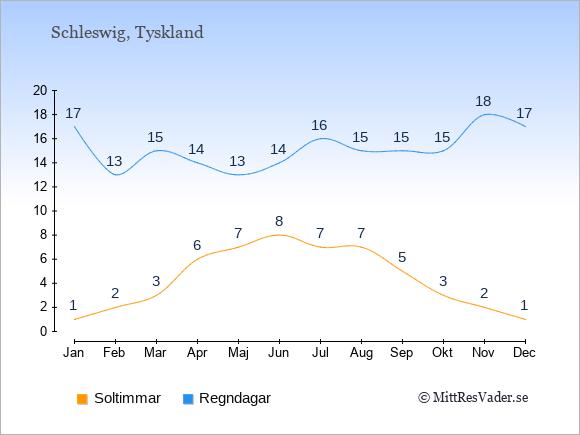 Vädret i Schleswig exemplifierat genom antalet soltimmar och regniga dagar: Januari 1;17. Februari 2;13. Mars 3;15. April 6;14. Maj 7;13. Juni 8;14. Juli 7;16. Augusti 7;15. September 5;15. Oktober 3;15. November 2;18. December 1;17.