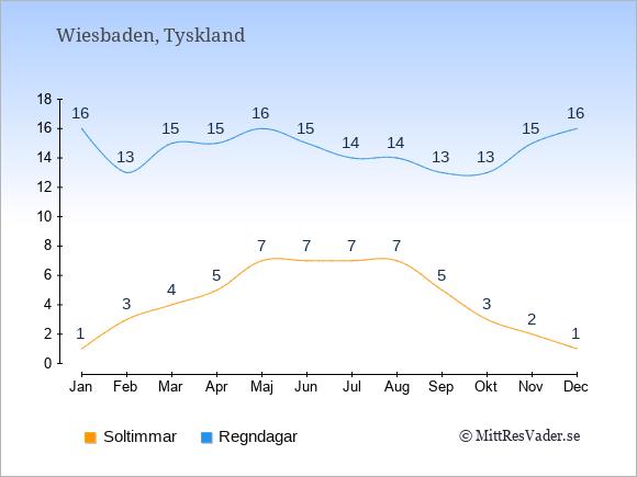 Vädret i Wiesbaden exemplifierat genom antalet soltimmar och regniga dagar: Januari 1;16. Februari 3;13. Mars 4;15. April 5;15. Maj 7;16. Juni 7;15. Juli 7;14. Augusti 7;14. September 5;13. Oktober 3;13. November 2;15. December 1;16.
