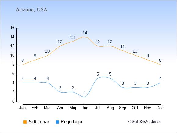 Vädret i Arizona exemplifierat genom antalet soltimmar och regniga dagar: Januari 8;4. Februari 9;4. Mars 10;4. April 12;2. Maj 13;2. Juni 14;1. Juli 12;5. Augusti 12;5. September 11;3. Oktober 10;3. November 9;3. December 8;4.