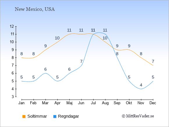 Vädret i New Mexico exemplifierat genom antalet soltimmar och regniga dagar: Januari 8;5. Februari 8;5. Mars 9;6. April 10;5. Maj 11;6. Juni 11;7. Juli 11;11. Augusti 10;11. September 9;8. Oktober 9;5. November 8;4. December 7;5.