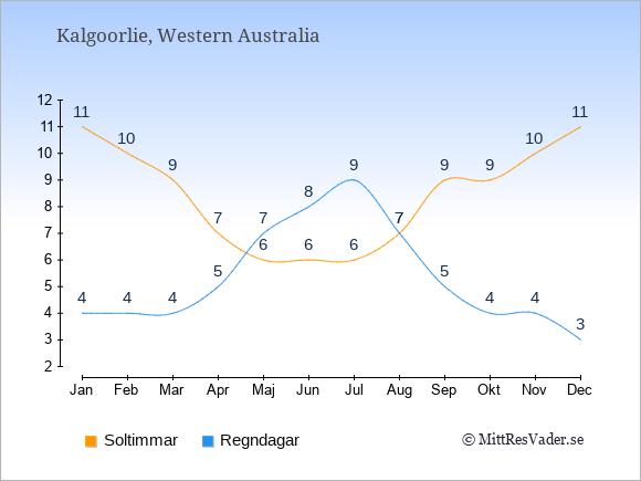 Vädret i Kalgoorlie exemplifierat genom antalet soltimmar och regniga dagar: Januari 11;4. Februari 10;4. Mars 9;4. April 7;5. Maj 6;7. Juni 6;8. Juli 6;9. Augusti 7;7. September 9;5. Oktober 9;4. November 10;4. December 11;3.