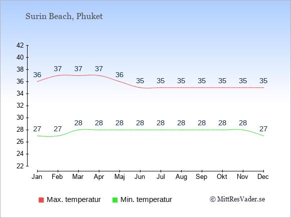 Temperaturer i Surin Beach -dag och natt.