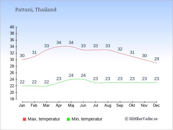 Genomsnittliga temperaturer i Pattani -natt och dag: Januari 22;30. Februari 22;31. Mars 22;33. April 23;34. Maj 24;34. Juni 24;33. Juli 23;33. Augusti 23;33. September 23;32. Oktober 23;31. November 23;30. December 23;29.