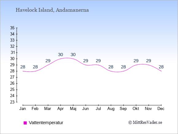 Vattentemperatur på  Havelock Island. Badvattentemperatur.