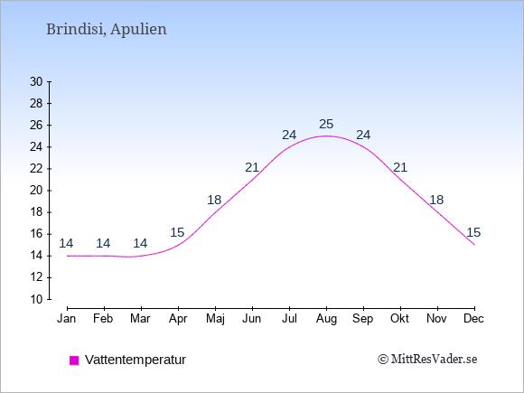 Vattentemperatur i  Brindisi. Badvattentemperatur.