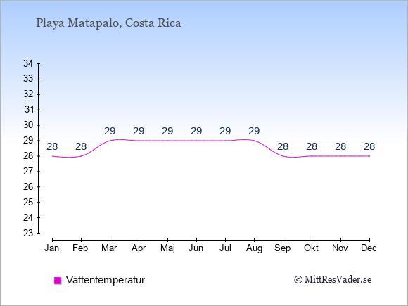 Vattentemperatur i Playa Matapalo Badtemperatur: Januari 28. Februari 28. Mars 29. April 29. Maj 29. Juni 29. Juli 29. Augusti 29. September 28. Oktober 28. November 28. December 28.