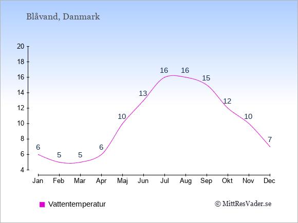 Vattentemperatur i  Blåvand. Badvattentemperatur.