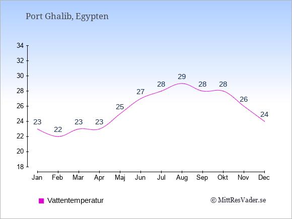 Vattentemperatur i Port Ghalib Badtemperatur: Januari 23. Februari 22. Mars 23. April 23. Maj 25. Juni 27. Juli 28. Augusti 29. September 28. Oktober 28. November 26. December 24.
