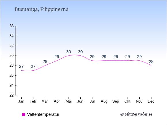 Vattentemperatur på Busuanga Badtemperatur: Januari 27. Februari 27. Mars 28. April 29. Maj 30. Juni 30. Juli 29. Augusti 29. September 29. Oktober 29. November 29. December 28.