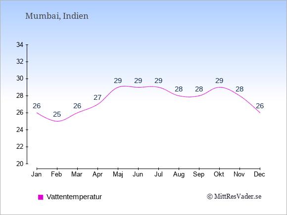 Vattentemperatur i Mumbai Badtemperatur: Januari 26. Februari 25. Mars 26. April 27. Maj 29. Juni 29. Juli 29. Augusti 28. September 28. Oktober 29. November 28. December 26.