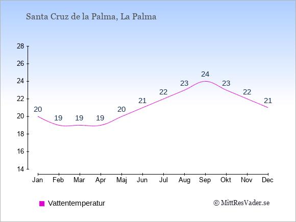 Vattentemperatur i  Santa Cruz de la Palma. Badvattentemperatur.