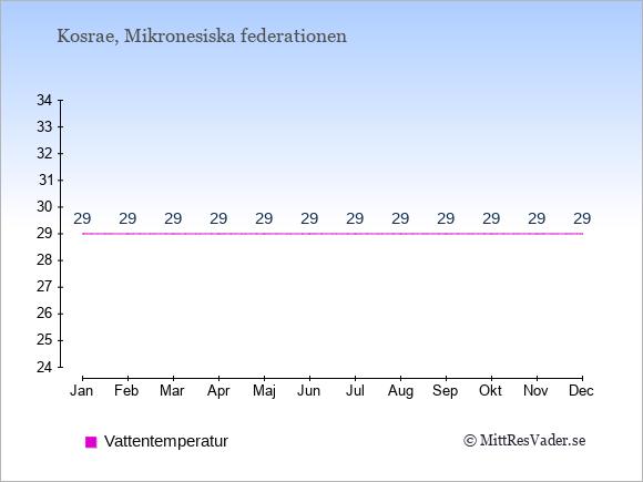 Vattentemperatur på Kosrae Badtemperatur: Januari 29. Februari 29. Mars 29. April 29. Maj 29. Juni 29. Juli 29. Augusti 29. September 29. Oktober 29. November 29. December 29.