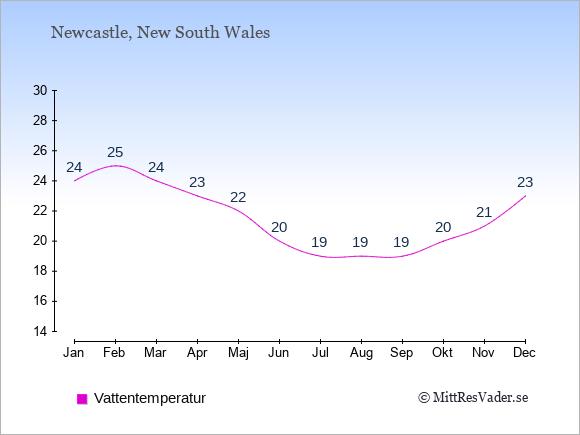 Vattentemperatur i  Newcastle. Badvattentemperatur.